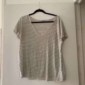 Grey/White Striped Top